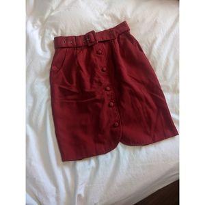 Vintage Red Belted Skirt